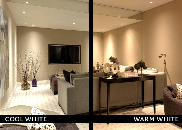 Led colour temperature warm vs cold knightsbridge audio visual for Downlight design living room