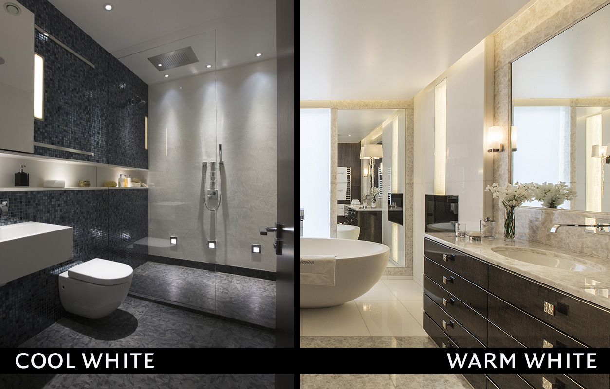 Led colour temperature warm vs cold knightsbridge for Warm bathroom